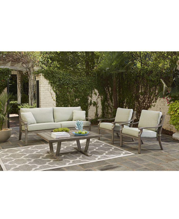 Furniture - Tara Aluminum Outdoor 4-Pc. Seating Set (1 Sofa, 2 Club Chairs & 1 Coffee Table)
