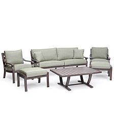 Tara Aluminum Outdoor 6-Pc. Seating Set (1 Sofa, 2 Club Chairs, 1 Coffee Table & 2 Ottomans), Created for Macy's