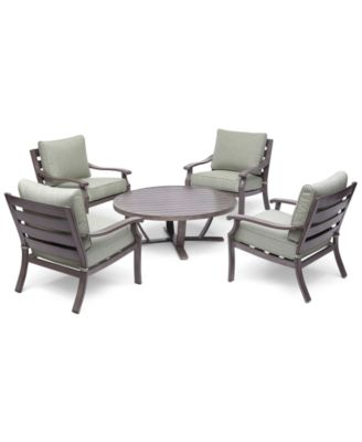 "Tara Aluminum Outdoor 5-Pc. Seating Set (48"" Round Table & 4 Club Chairs), Created for Macy's"