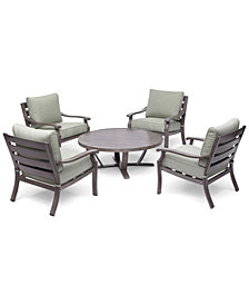 "Tara Aluminum Outdoor 5-Pc. Seating Set (48"" Round Table & 4 Club Chairs), with Sunbrella® Cushions, Created for Macy's"