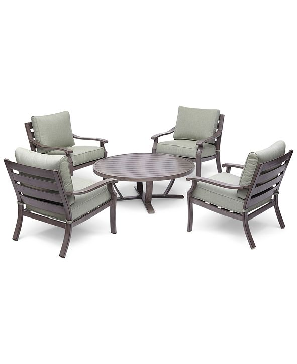 """Furniture Tara Aluminum Outdoor 5-Pc. Seating Set (48"""" Round Table & 4 Club Chairs), with Sunbrella® Cushions, Created for Macy's"""