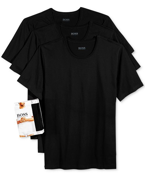 a768cd7d8 ... Hugo Boss BOSS Men's Underwear, Cotton 3 Pack Crew Neck Undershirts ...