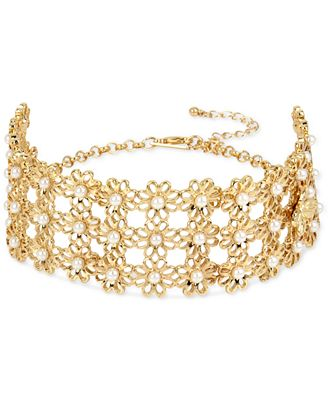 M. Haskell for INC International Concepts Gold-Tone Imitation Pearl Daisy Choker Necklace, Only at Macy's