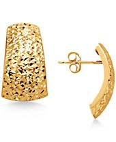 Italian Gold Crystal-Cut Domed Hoop Earrings in 14k Gold