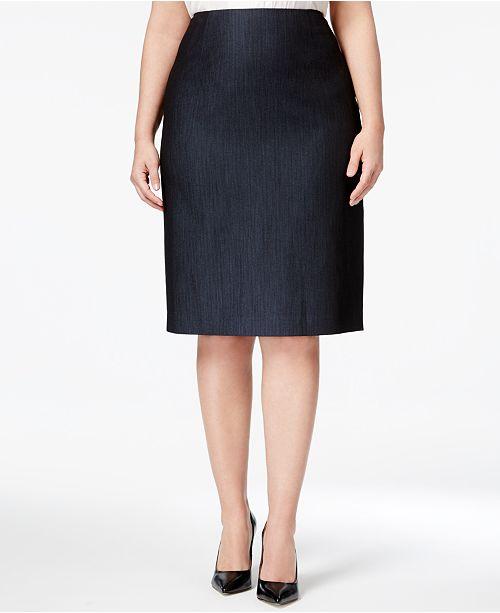 61ccb4ce5b8 Anne Klein Plus Size Denim Twill Pencil Skirt   Reviews - Skirts ...