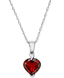 "Rhodolite Garnet Heart (1-9/10 ct. t.w.) & Diamond Accent 17"" Pendant Necklace in 14k White Gold"