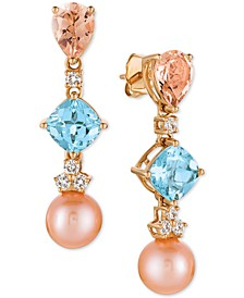 Multi-Gemstone (3-3/4 ct. t.w.), Cultured Freshwater Pearl (9mm) and Diamond (1/3 ct. t.w.) Drop Earrings in 14k Rose Gold