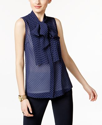 MICHAEL Michael Kors Sheer Tie-Neck Blouse