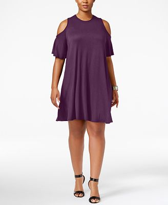 Soprano Trendy Plus Size Cold-Shoulder Shift Dress