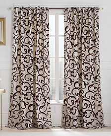 "Victoria Classics Brandy Flocked 54"" x 84"" Tab Top Window Panel"