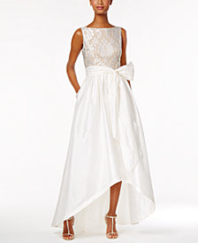 Adrianna Papell Embroidered Taffeta High-Low Gown