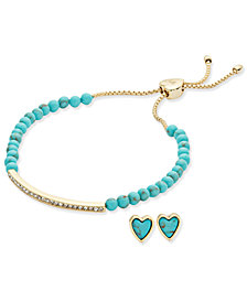 Vera Bradley 2-Pc. Colored Bead Slider Bracelet and Matching Heart Stud Earrings Set