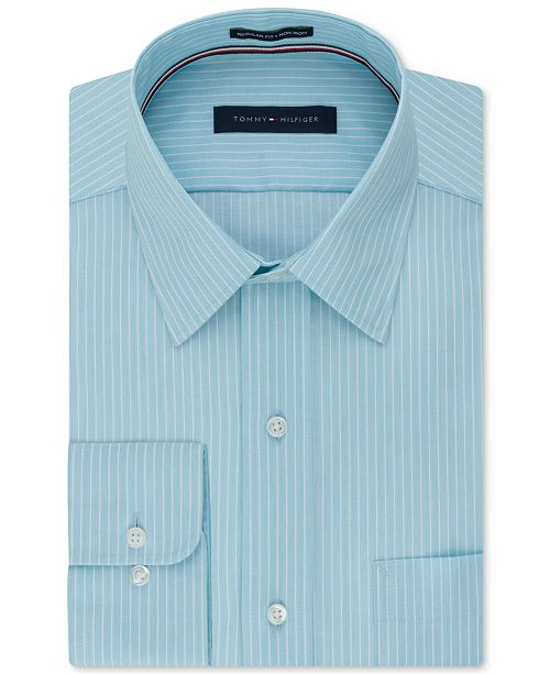 Tommy Hilfiger Men's Big and Tall Classic Fit Non-Iron Stripe Dress Shirt