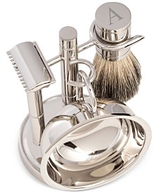 Bey-Berk Men's Chrome Monogrammed Safety Razor & Brush Set
