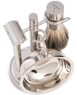 Men's Chrome Monogrammed Safety Razor & Brush Set