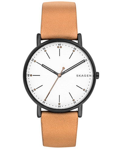 Skagen Unisex Signature Tan Leather Strap Watch 40mm SKW6352