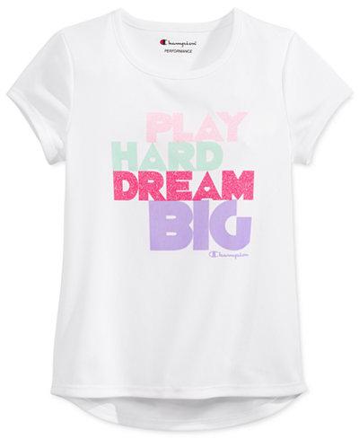Champion Play Hard Dream Big Glitter Graphic-Print T-Shirt, Toddler & Little Girls (2T-6X)