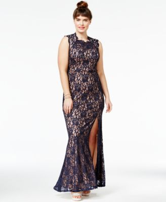 City Studios Trendy Plus Size Lace High-Neck Gown