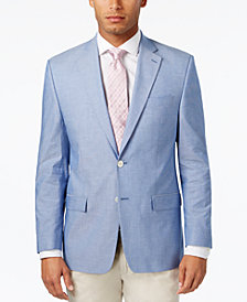 CLOSEOUT! Lauren Ralph Lauren Men's Classic-Fit Big and Tall Light Blue Chambray UltraFlex Sport Coat