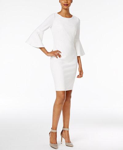 Calvin Klein Bell-Sleeve Sheath Dress - Dresses - Women - Macy\'s