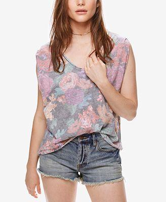 Free People Gardenia Printed High-Low T-Shirt