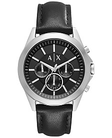A|X Armani Exchange Men's Chronograph Black Leather Strap Watch 44mm AX2604