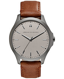 A|X Armani Exchange Men's Diamond Accent Brown Leather Strap Watch 46mm AX2195