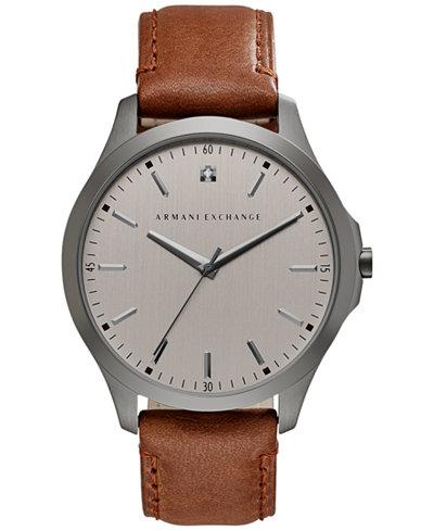 A X Armani Exchange Men's Diamond Accent Brown Leather Strap Watch 46mm AX2195