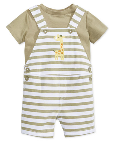 First Impressions 2-Pc. T-Shirt & Striped Giraffe Shortall Set, Baby Boys (0-24 months), Only at Macy's