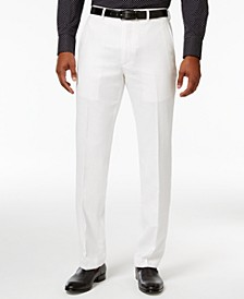 Men's Classic-Fit White Linen Dress Pants
