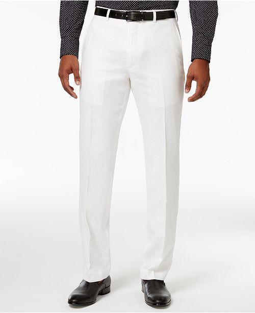 202d52c31ef Sean John Men s Classic-Fit White Linen Dress Pants   Reviews ...