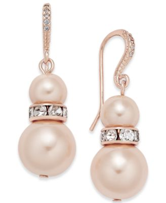 Image of Charter Club Pavé and Imitation Pearl Drop Earrings, Created for Macy's