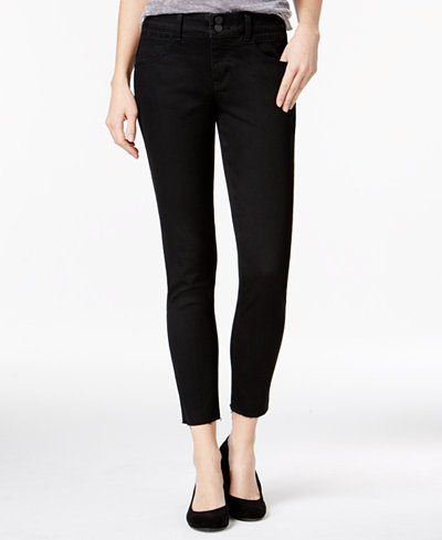 Rewind Juniors' Techno Tuck Cropped Skinny Jeans