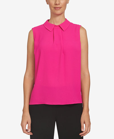 CeCe Collared Pleated Top