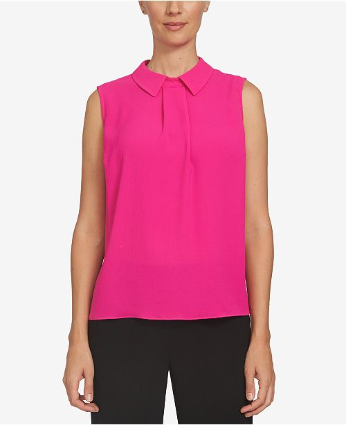 Top Magenta Pleated Collared Hot CeCe BRqCxx