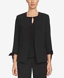 Open-Front Tie-Sleeve Blazer