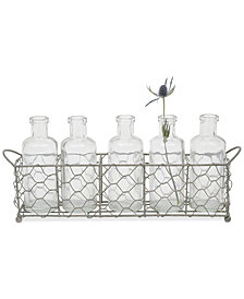 Wire Holder with 5 Glass Vases