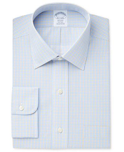 Brooks Brothers Men's Regent Classic/Regular Fit Non-Iron Yellow Checked Dress Shirt