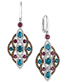 Le Vian Chocolatier® Multi-Gemstone (4 ct. t.w.) and Diamond (1-1/4 ct. t.w.) Drop Earrings in 14k White Gold