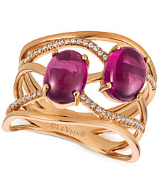 Le Vian® Raspberry Rhodolite® (3 ct. t.w.) and Diamond (1/8 ct. t.w.) Ring in 14k Rose Gold