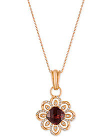 Le Vian Chocolatier® Pomegranate Garnet (2-1/4 ct. t.w.) and Diamond (1/4 ct. t.w.) Pendant Necklace in 14k Rose Gold