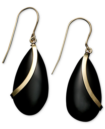 14k Gold Earrings, Onyx Teardrops