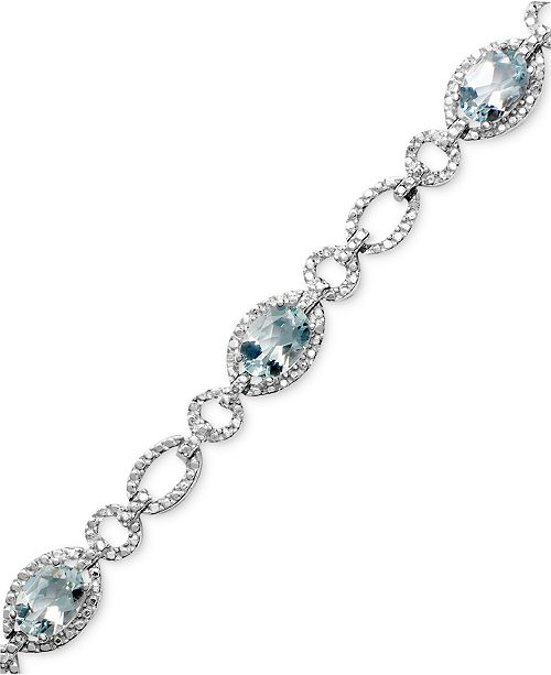 Macy's Sterling Silver Bracelet, Aquamarine (5 ct. t.w.) and Diamond Accent