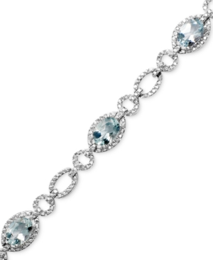 Sterling Silver Bracelet, Aquamarine (5 ct. t.w.) and Diamond Accent
