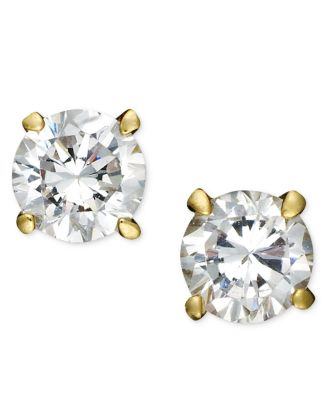 18k Gold And Sterling Silver Earrings Round Cubic Zirconia Studs 1 2 Ct T W