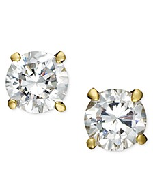 18k Gold and Sterling Silver Earrings, Round Cubic Zirconia Studs (1/2 ct. t.w.)