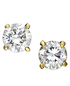 Giani Bernini 18k Gold over Sterling Silver Earrings, Cubic Zirconia Round Stud Earrings (4-8mm)