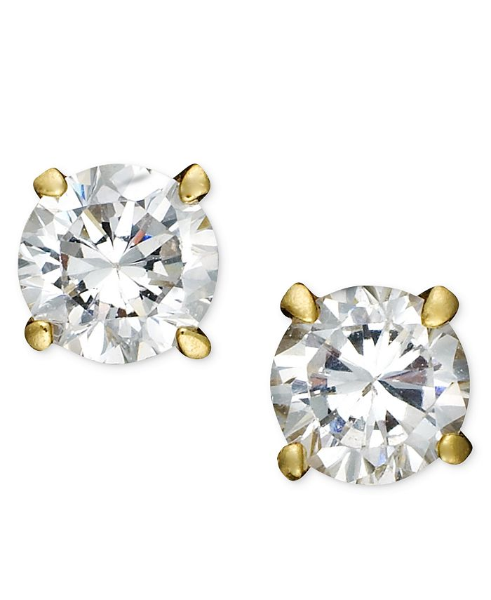 Giani Bernini - 18k Gold and Sterling Silver Earrings, Round Cubic Zircoia Studs (1/2 ct. t.w.)