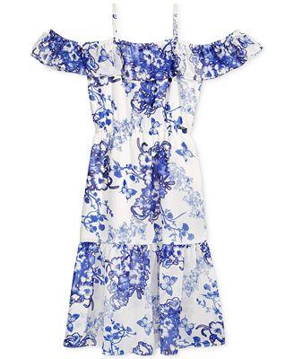 GUESS Floral-Print Off-The-Shoulder Dress, Big Girls (7-16)