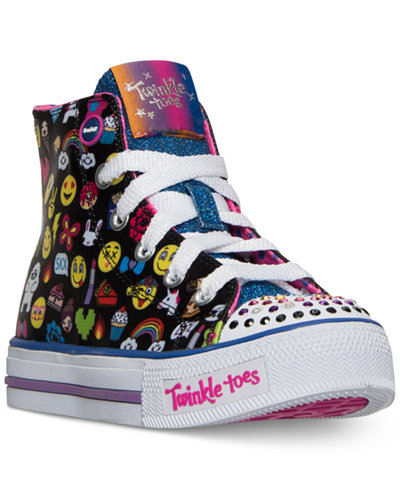 Skechers Little Girls' Twinkle Toes: Shuffles – Chat Time High-Top Casual Sneakers from Finish Line